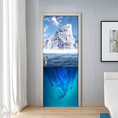 3D Deurfolie Deurfolie Blauwe Lucht Witte Wolken Sneeuw Berg Natuur Landschap 3D Fotobehang Woonkamer Slaapkamer Deursticker-As_Shown_77Cm_X_200Cm
