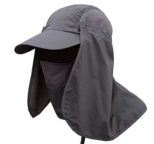 JITTY Sun Cap UV Protection Removable Neck & Face Flap Cover Caps for Baseball Summer Outdoor Hiking Cycling Fishing Gardening Hunting Camping (Dark Grey)
