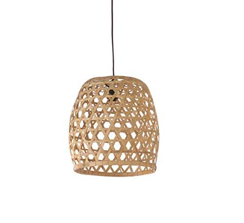 Lámpara colgante de bambú trenzada – Lámpara de diseño escandinavo bohemio chic – Luz/M