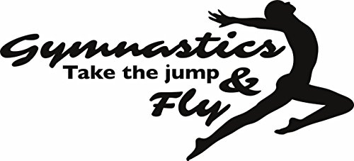 gymnastique prendre le saut et Fly – gymnastique enfants filles Sports Inspiration Motivation Citation Autocollant mural en vinyle pour décoration de maison – 55,9 x 25,4 cm 22 Inches x 10 Inches noir