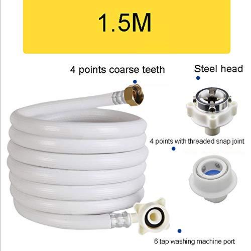 QINYUP Universelle Automatische Waschmaschine Wasserversorgung Armaturen Verlängerte zur Verlängerung der Wassereintritt Wasserrohr Buckle 4 Punkte Schraube,1.5M
