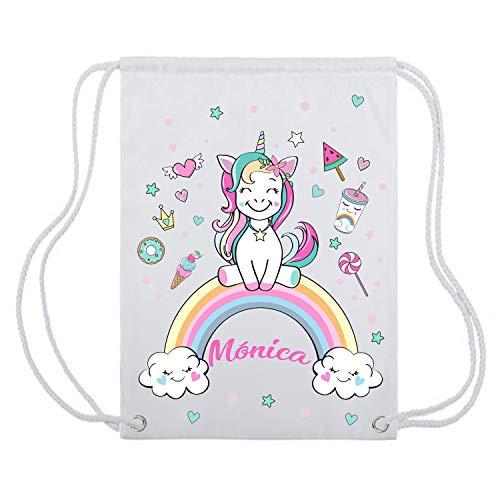 Kembilove Mochila de Unicornio Personalizada - Bolsa con cordón de Unicornio con Nombre Personalizado para niña - Mochila Personalizada Infantil para la Vuelta al Cole para niñas y Adolescentes