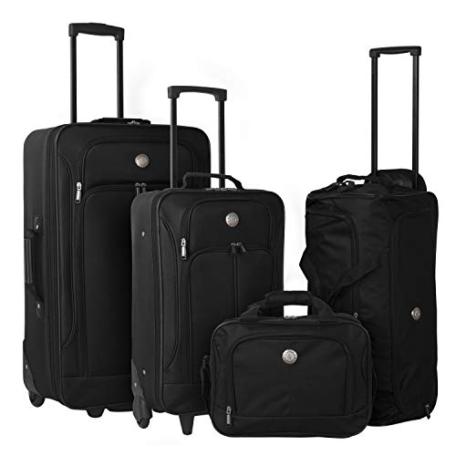 Travelers Club 4 Piece Expandable Accessories, Black Color Option Luggage Set