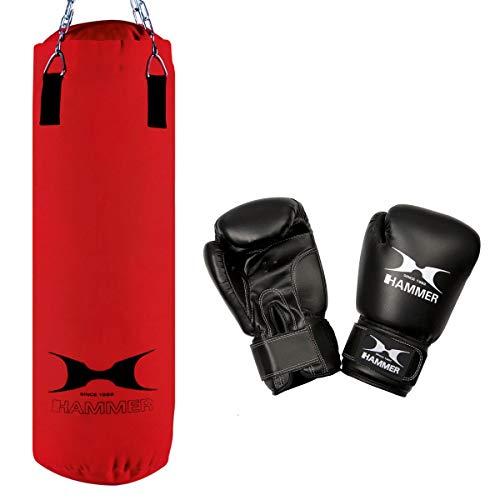 HAMMER Boxset Fight mit 80 cm langem Nylon Box-Sack und Boxhandschuh Fit in der Größe 10oz