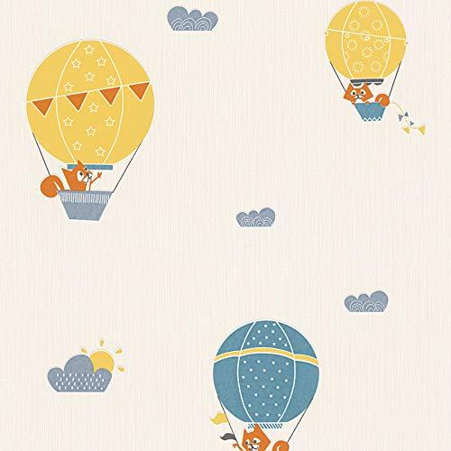 Vliestapete Wolken-Tapete Tapete mit Wolken Esprit-Tapeten 302952 30295-2 Esprit HOME Esprit Kids 4 | Beige/Crème Blau Orange/Terrakotta | Rolle (10,05 x 0,53 m) = 5,33 m²