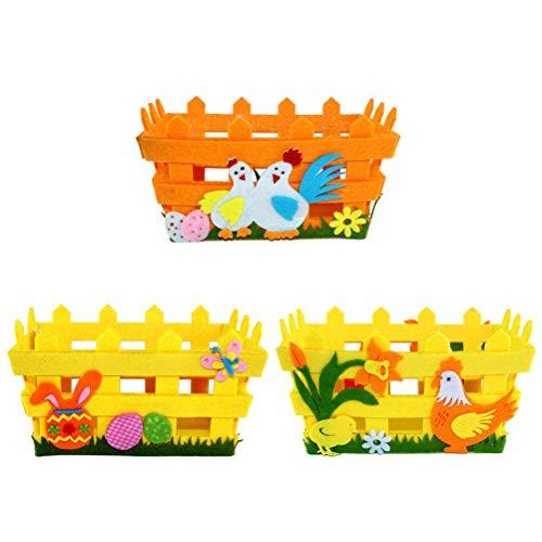 Amosfun Huevos de Pascua Cesta Conejo Pollito Decorativa Manualidades Decorar y llenar de Dulces Color al Azar
