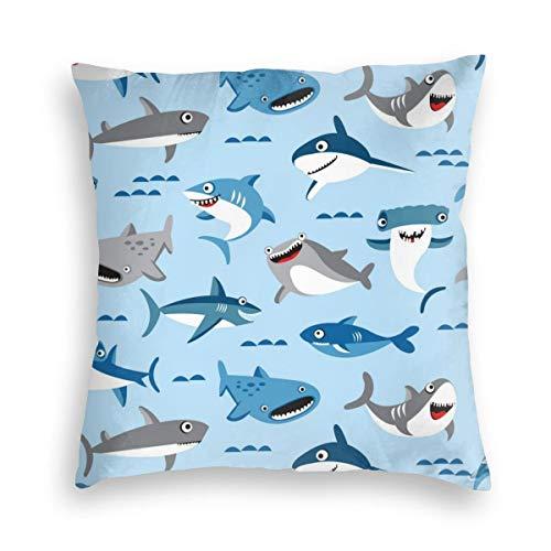 FONDSILVER - Funda de cojín decorativa de terciopelo suave con diseño de tiburón tropical, decoración para el hogar, funda de cojín cuadrada con cremallera para sofá, dormitorio, funda de almohada, terciopelo, negro, 16'x16'
