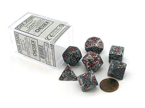Polyhedral 7-Die Speckled Dice Set - Granite