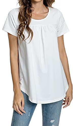 UMIPUBO Camiseta para Mujer Blusa Camisa Camisetas de Manga Corta para Mujer Clásico Cuello Redondo Camiseta básica Casual Verano Ligero Algodón Camisas Suaves Tops