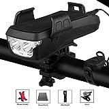 Yabin - Set de iluminación para bicicleta 4 en 1 con cable USB y soporte para teléfono móvil, bicicleta, timbre de bicicleta de montaña y batería externa, marrón, 2000mah