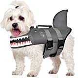 Petacc Dog Life Jackets Adjustable Dog Swimming Vest Float Coat Shark Lifejacket with Rescue Handle & Reflective Strip, S