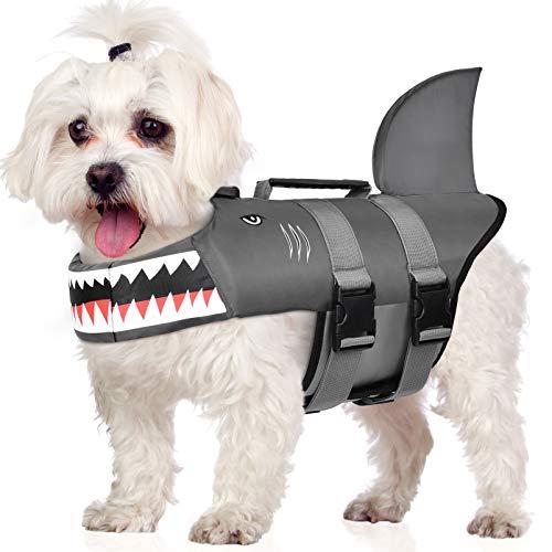 Petacc Dog Life Jacket Adjustable Pet Safety Vest Ripstop Dog Life Preserver with Rescue Handle,...