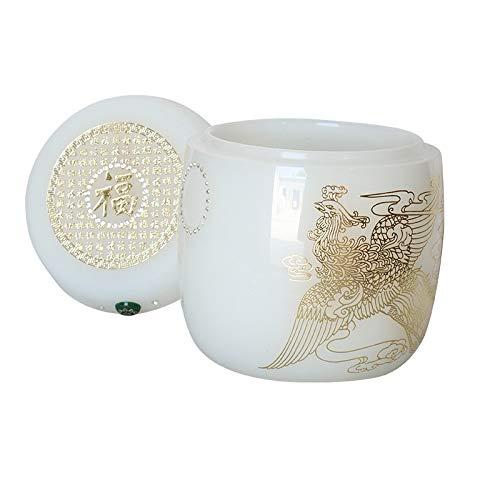 Wit geglazuurd Draak en Phoenix Urn Kist, Marble Urn Altaar Funeral Supplies