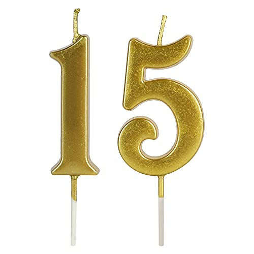 Gold 15th Birthday Candles for Cake, Number 15 1 5 Glitter Candle Party Anniversary Cakes Decoration for Kids Women or Men