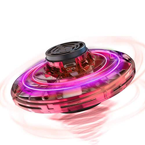 FlyNova Flying Spinner Toy, Hand Operated Mini Drone, UFO Drone Flying Toy Hand Controlled Mini Free Flight Paths with 360°Rotating and LED Lights, Interactive Toys Gifts for Kids Adults (Red)