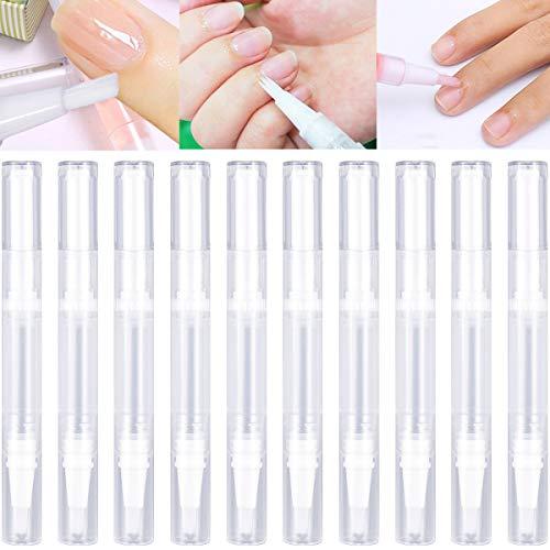 Dokpav Nail Nutrition Pens, 10 Stück 3ml Leerer Kosmetikbehälterstift twist pen, Flüssigapplikator mit Bürste, Lipgloss Behälter Wimpernwachstumsröhre, Für Nagellack, Zahnaufheller, ätherisches Öl