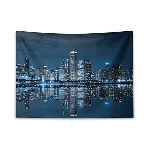 ABAKUHAUS Chicago Skyline Wandteppich & Tagesdecke, Schlafende Stadt, aus Weiches Mikrofaser Stoff Klare Farben ohne verblassen Druck, 150 x 110 cm, Nachtblau Grau