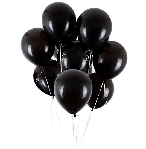 Vercrown 100 Piezas Negro Globos de 12 Pulgadas 2.8g/pc Color Brillante Globos de látex para la Fiesta de cumpleaños del Aniversario de Boda