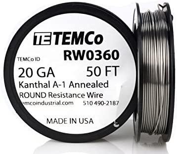 TEMCo Kanthal A1 wire 20 Gauge 25 Ft Resistance AWG A-1 ga