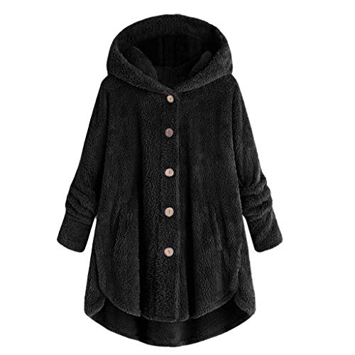 Auimank Women Autumn Winter Warm Comfortable Coat Casual Fashion Jacket Long Sleeve Solid Sweatshirt Pullover Tops Blouse Shirt(Black,X-Large)