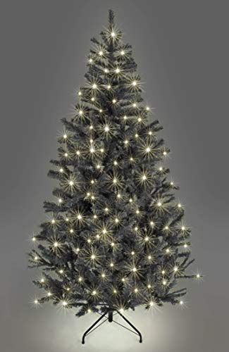 SHATCHI Pre-Lit Alaskan Pine Artificial Christmas Tree with LEDs Metal Stand Tips Xmas Holiday Home Decorations, 4Ft-12ft (Green, Black W/Warm White, 8Ft/240CM