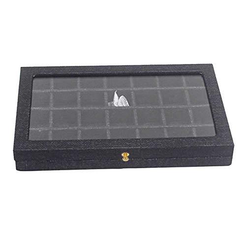 Merssavo Organizador de Caja de joyería, Caja de exhibición de joyería, 28 Ranuras, Caja de Pendientes de Franela Negra, Caja de exhibición de Cuentas de Terciopelo, Organizador de Vitrina de Vidrio