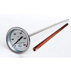 Pirómetro Profesional Extra-Largo para Horno, 50cm, con Vaina de protección de Cobre, para Proteger el Sensor de Las…