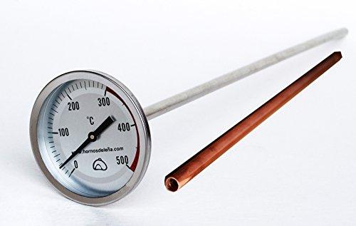 Pirómetro Profesional Extra-Largo para Horno, 50cm, con Vaina de protección de Cobre, para Proteger el Sensor de Las Altas temperaturas