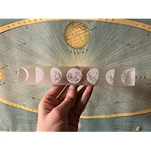 Etched Moon Phase Selenite Charging Plate, Moroccan Hand Made Selenite Plates