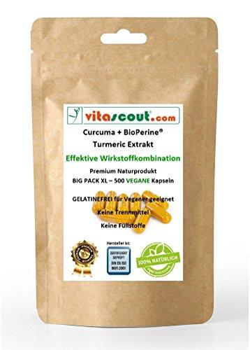 Curcuma + Bioperine® 500 capsules - Kurkuma VEGAN - Turmeric Piperine - No tabletten