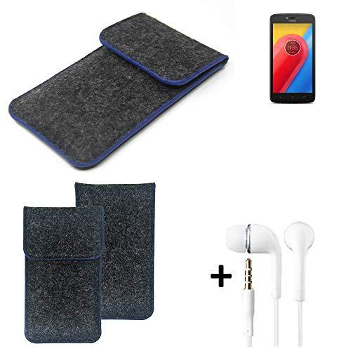 K-S-Trade Filz Schutz Hülle Für Lenovo Moto C LTE Schutzhülle Filztasche Pouch Tasche Handyhülle Filzhülle Dunkelgrau, Blauer Rand Rand + Kopfhörer