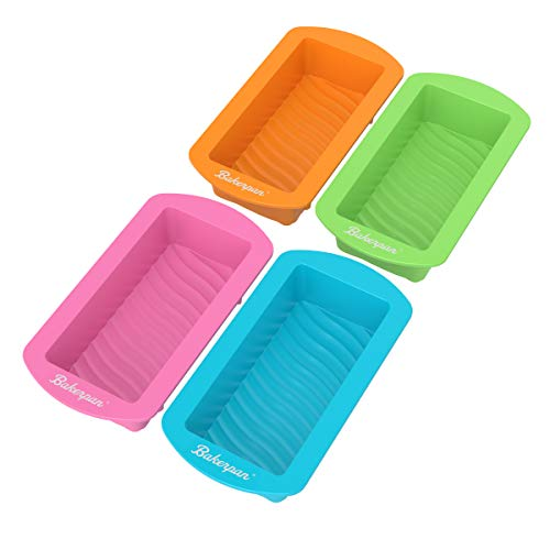 Bakerpan Silicone Mini Cake Holders, 4.5 Inch Mini Loaf Pan, Rectangle Shape Mold, Set of 4