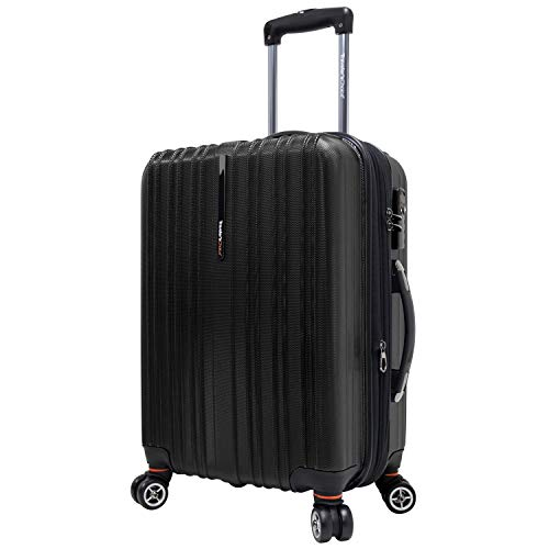 Traveler's Choice Tasmania 100% Pure Polycarbonate Expandable Spinner Luggage, Black