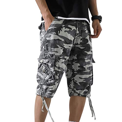 laamei Herren Camouflage Shorts Kurze Hose Multi Taschen Latzhose Overall Männer Oversize locker Tarnhose Outdoor Pants Freizeithose Strandhose Für Sommer