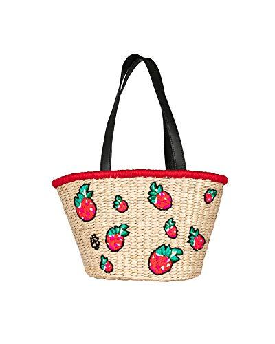Becksöndergaard Raspy Reese Bag/Beige – Bolso de playa para mujer, pequeño, de algas marinas, diseño de fresas, asas de piel, color negro, 40 x 20 x 16 cm