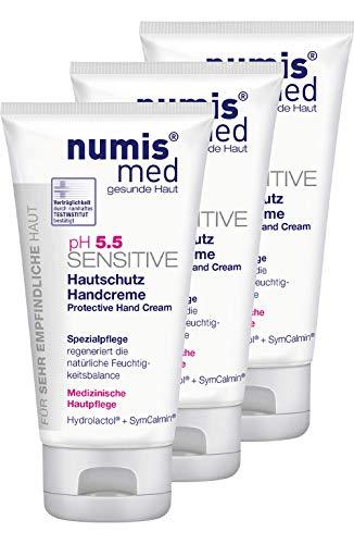 numis med Hautschutz Handcreme ph 5.5 SENSITIVE - Hautpflege vegan - Handcreme für sensible, feuchtigkeitsarme & zu Allergien neigende Haut - Hand Creme im 3er Pack (3x 75 ml)