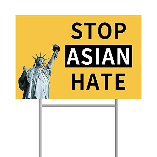 LETKIM Stop Asian Hate Yard Signs with Stakes 2 Sided 12'x18' PP Hollow Sheet