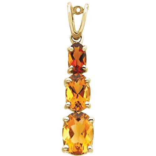 14 Karat (585) Gelbgold, echter Citrin und Madeira JewelryWeb Anhänger