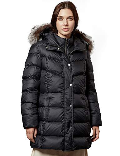Escalier Damen Daunenjacke mit Fellkapuze Winter Warm Puffer Parka Jacke Dicker Steppmantel Gr. M/L, Schwarz