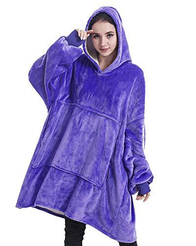 YAOTT Damen Sweatshirtdecke Mit Kapuze Superweich Warm flauschig Nachthemd TV Bettdecke Solide Fronttasche Übergroßer Hoodie Kapuzenpullover Lila one Size