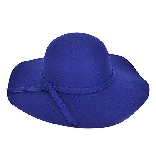 Women Wide Brim Fedora Hats Floppy Wool Felt Bowler Beach Hat Sun Cap Summer
