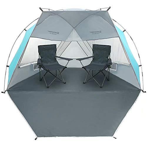 Bessport Strandzelt für 3-4 Personen,Strandmuschel Kleines Packmaß Ultraleichte mit Ausziehbarer Boden, UV Schutz 50+ Sonnenschutz Beach Zelt für Familie, Garten