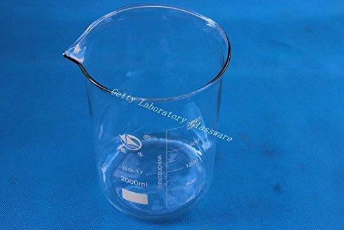 Pyrex Matraz de cristal de laboratorio (2000ml, boca ancha, cristal)