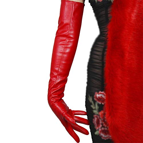 "DooWay Women Fashion Long Gloves Faux Leather Lambskin Sheepskin PU 24"" 60cm Opera Evening Hot Red"