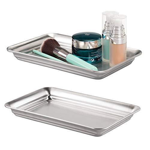 mDesign Metal Storage Organizer Tray for Bathroom Vanity Countertops, Closets and Dressers - Holder for Guest Hand Towels, Jewelry, Makeup Brushes, Reading Glasses - Pack of 2, Brushed Stainless Steel