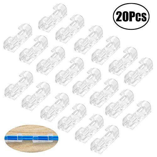 LEBQ Abrazadera de Cables Auto-Adhesivo Soporte de Cable,Paquete de 20, Transparente