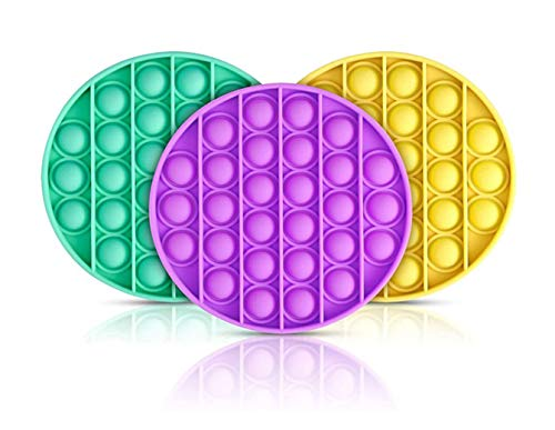 3Pcs Push pop pop Bubble Squeeze Sensory Fidget Toy, Relieve The Stress of Autism and Help Restore Emotions, for Kids Adults Restore Emotions Anti-Anxiety Tools (Yellow+Green+Purple)