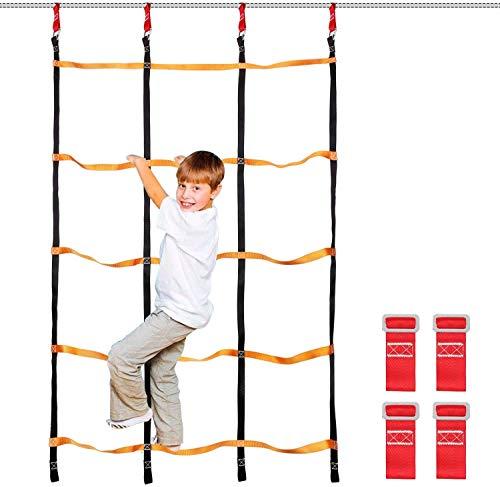 Odoland Slackline Kingder Set Klettergerüst Kletternetz Strickleiter für Kinde oder Anfänger
