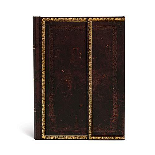 Paperblanks Diario negro marroquí (colección de cuero antiguo) tapa dura, forrado – Midi