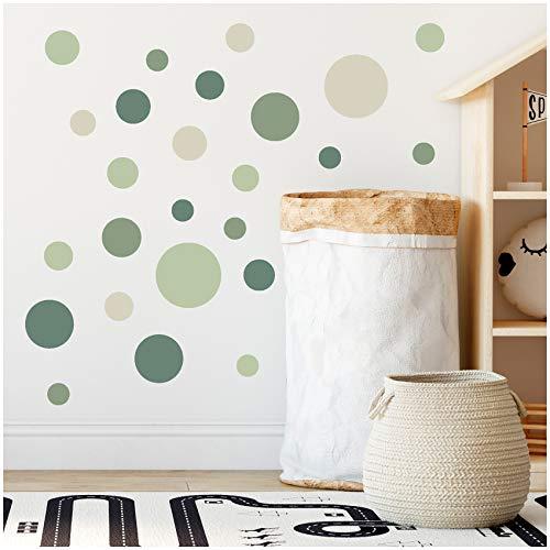 yabaduu 100 Klebepunkte Kreise Punkte Wandtattoo Kinderzimmer Schlafzimmer Babyzimmer Aufkleber Folie Deko Selbstklebend für Junge Mädchen Pastell (Y035-12 Waldgruen)